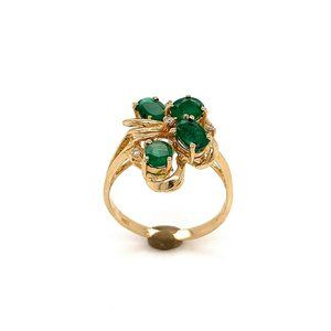 14K Gold, Emerald & Diamond Ladies Size 7 Ring